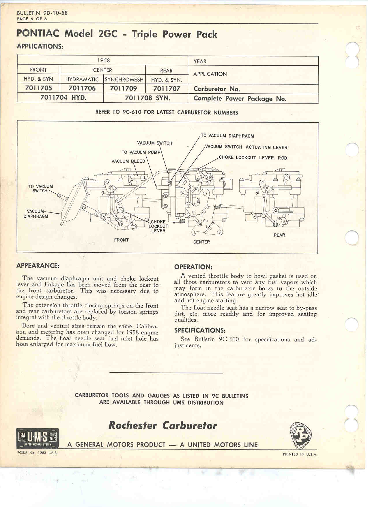 The Carburetor Shop Troubleshooting 85 Chevy Truck Gas Tank Wiring Rochester Bulletin Here Is Another Link Showing A Slotted Gasket Regular Often Used For Marine Carbs And Some Other Hot Idle Compensation